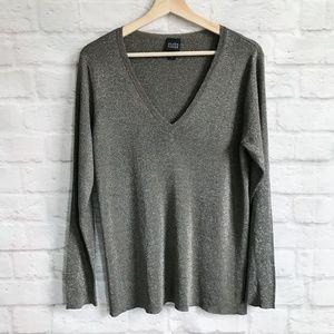 Eileen Fisher Metallic V-Neck Shimmer Sweater